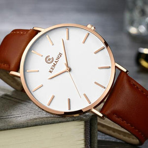 Ultra Thin Leather Minimalist Men's Wrist Watch