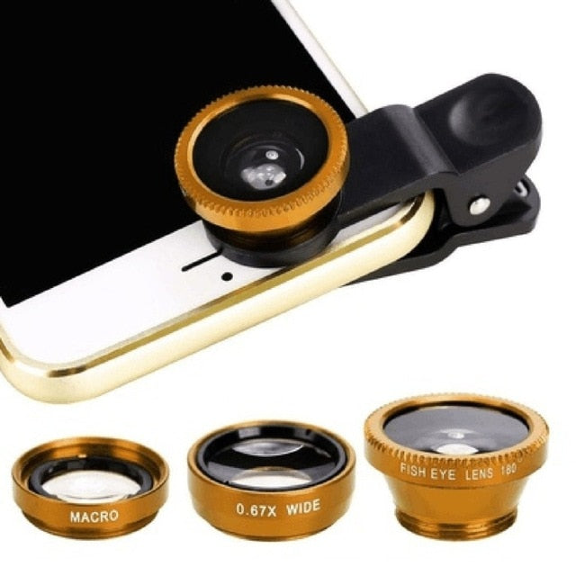 Wide Angle Macro Fisheye Lens Camera Kits with Clip for Mobile Phone