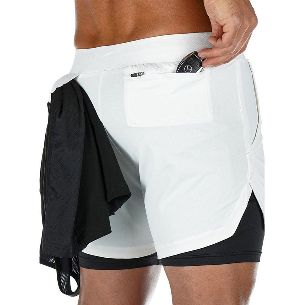 Quick Dry 2 in 1 Cell Phone Running Gym Fitness Shorts for Men