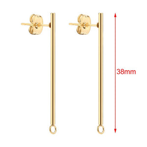 50pcs Stainless Steel Minimalist Layering Long Thin Geometric Gold Tone Stick Post Earrings