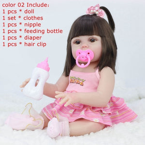45CM Full Silicone Drinking Water Pee Body Reborn Baby Dolls