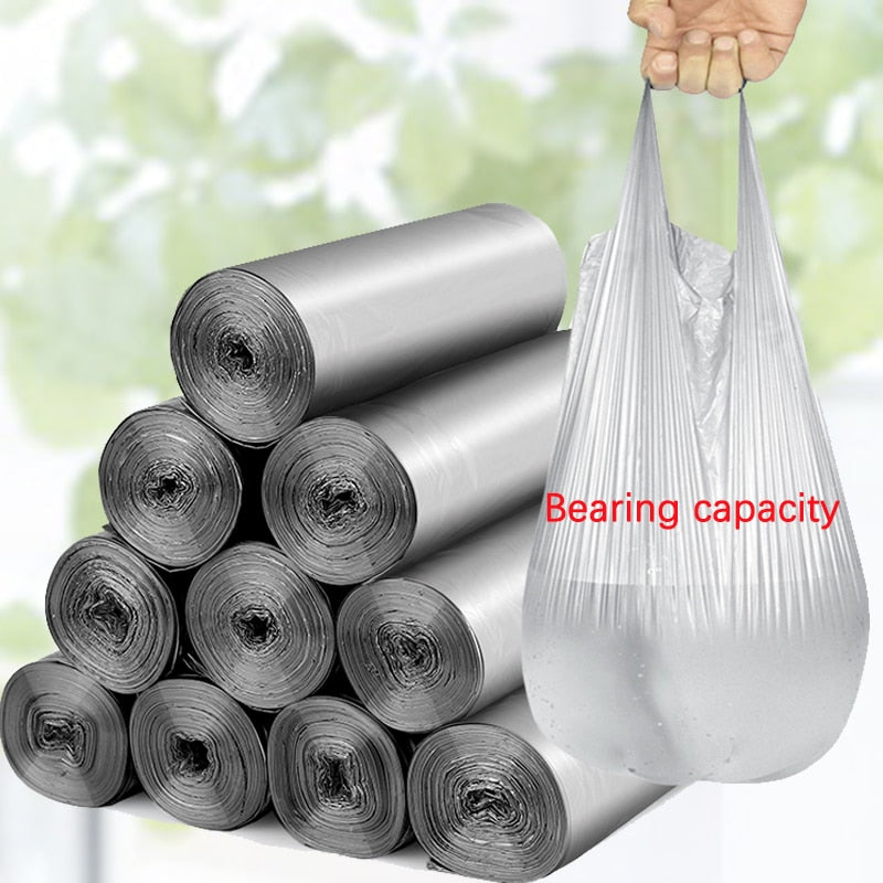5 Rolls 100pcs Disposable Plastic Garbage Trash Bags for Kitchen