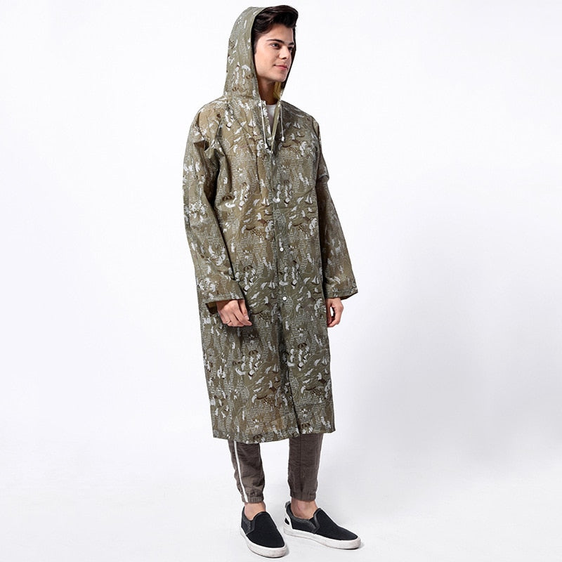 Military Impermeable Hooded Waterproof Rain Coat for Adults