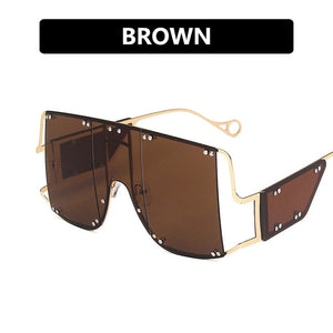New Unique Oversized Mirror Fashion Square Sunglasses for Women