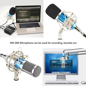 NW-800 Professional Condenser Microphone+Shock Mount+Foam Cap+Microphone Power Cable