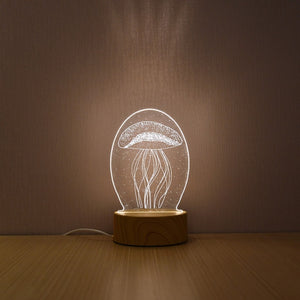 Creative Wood Grain Novelty Illusion Newest 3D LED Night Lamp For Home Decoration