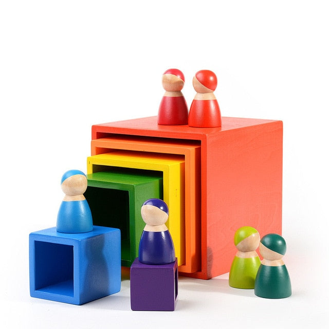 Simulation 12Pcs Rainbow Square Building Blocks Wooden Toys Set For Kids