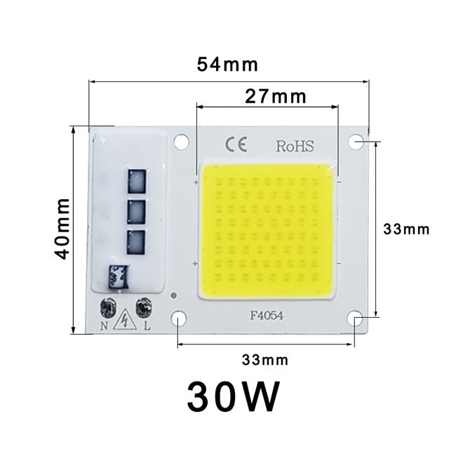 AC 220V 10W 20W 30W 50W IP65 High Power Smart IC DIY Flood LED Light Bulb