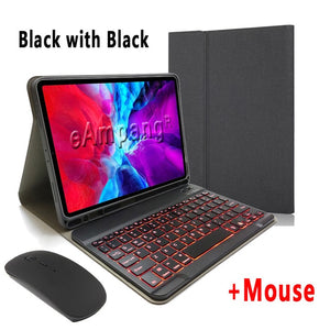 Backlit Keyboard Case for iPad with Pencil Holder Mouse for Apple iPad Pro