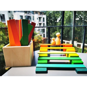 100pcs Kids Wooden Bridge Rainbow Building Blocks/Unpaint Wooden Stacking Strips Creative Toys
