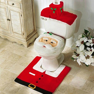 Anti-Slip 3Pcs/set Christmas Santa Toilet Seat Cover & Bathroom Mat for Home