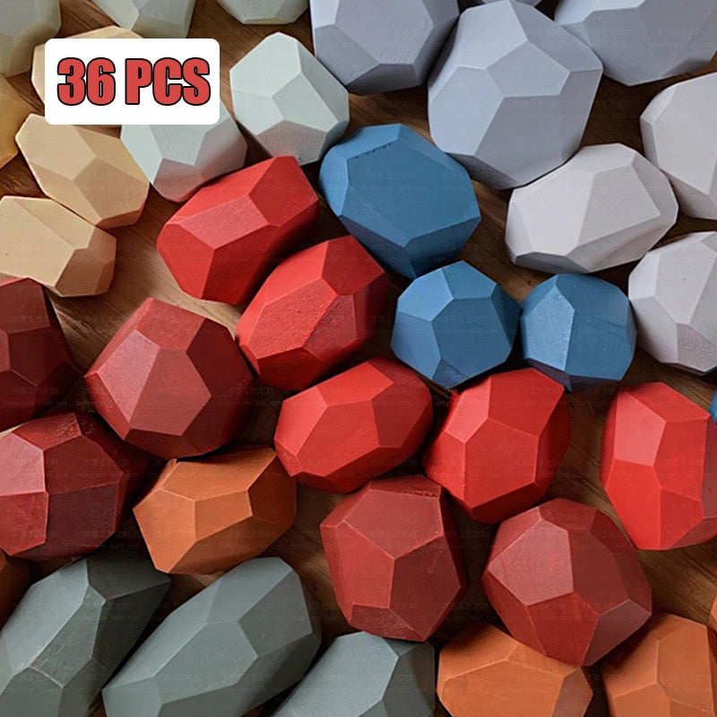 36Pcs Children's Wooden Colored Stone Building Block Educational Toys