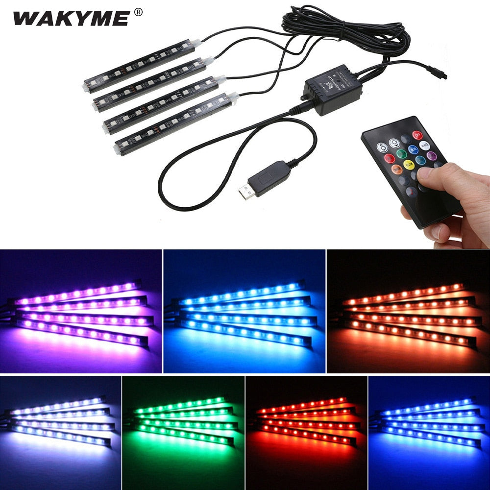 4pcs 5V DC RGB LED Strip Light for Car Interior Light with Remote Control