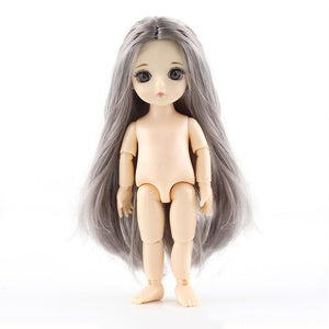 New 16cm Movable Jointed 3D Big Eyes Long Wig Fashion Dolls