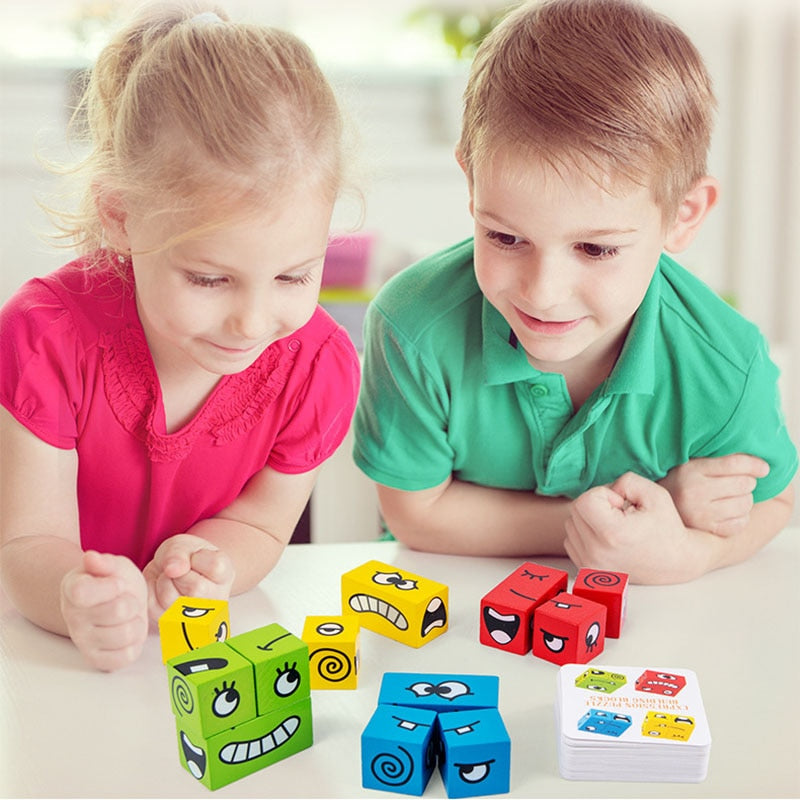 Magic Face Change Puzzle Wooden Building Block Educational Toys for Kids