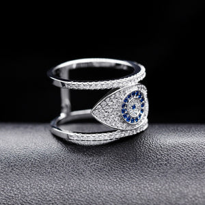 Cubic Zirconia Blue Evil Eye Rings Gift for Women