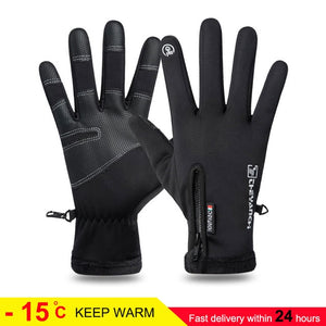 Unisex Waterproof Cycling Fluff Anti Slip Touchscreen Warm Gloves For Cold Weather