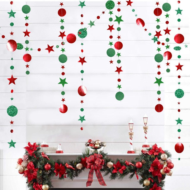 4Mts Snowflake Star Tree Shape Paper Garland for Christmas Decoration