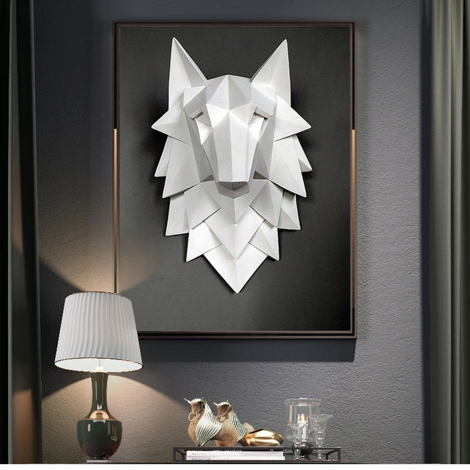 Nordic Style Art Sculpture 3D Wolf Head Statue for Living Room Decoration
