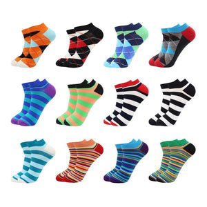 12Pairs Novelty Funny Casual Fashion Colorful Cotton Ankle Socks