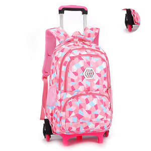 Kids Trolley Schoolbag/Luggage Backpack With 3 Wheels Stairs