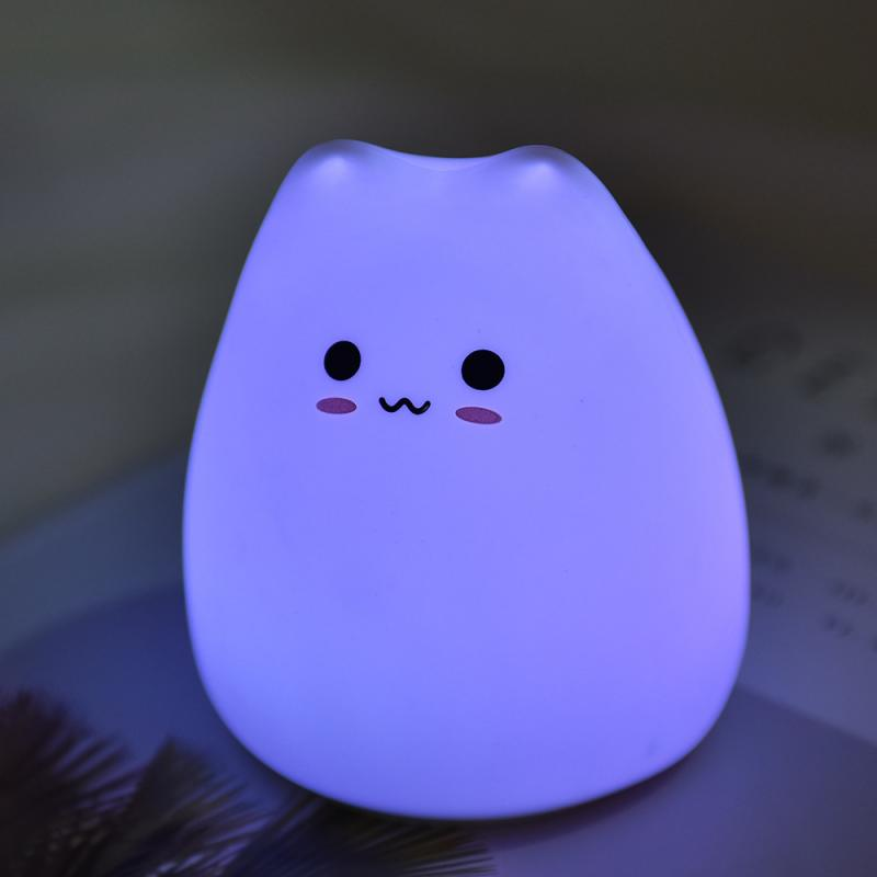 Silicone Touch Sensor 7 Colors Cute LED Night Light Lamp for Kids Bedroom Desktop Decor