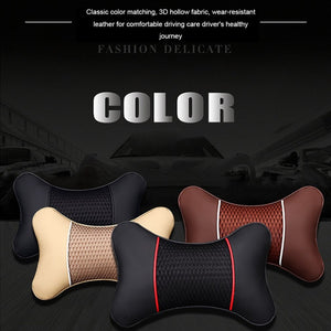 Leather Car Seat Neck Pillow Head Protector