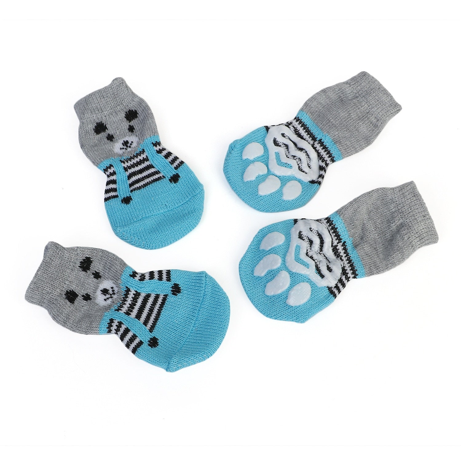 4pcs/Set Cartoon Anti Slip Cute Puppy Dog Socks