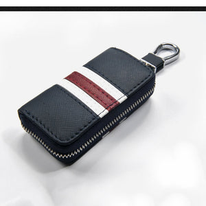 Universal Customized Remote Control Leather Striped Zipper Bag Car Key Case
