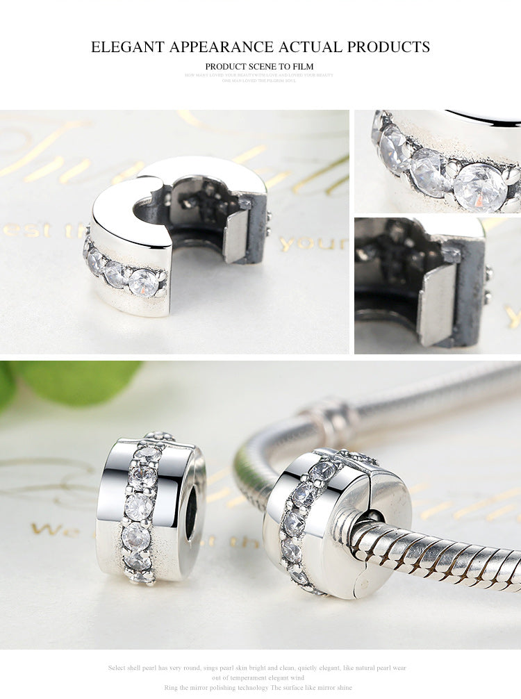 FASHIONABLE 925 Sterling Silver Shining Path Clip Charm Beads for Women