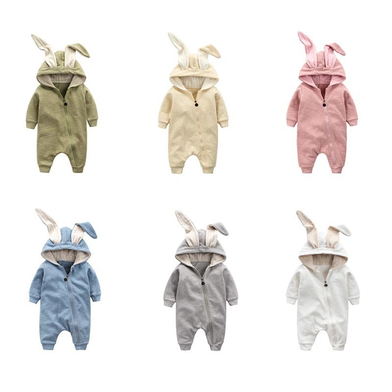 New Spring Autumn Baby Rompers With Cute Cartoon Rabbit Outfits Clothes