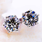 Trendy 925 Sterling Sliver Stud Shining Earrings for Woman