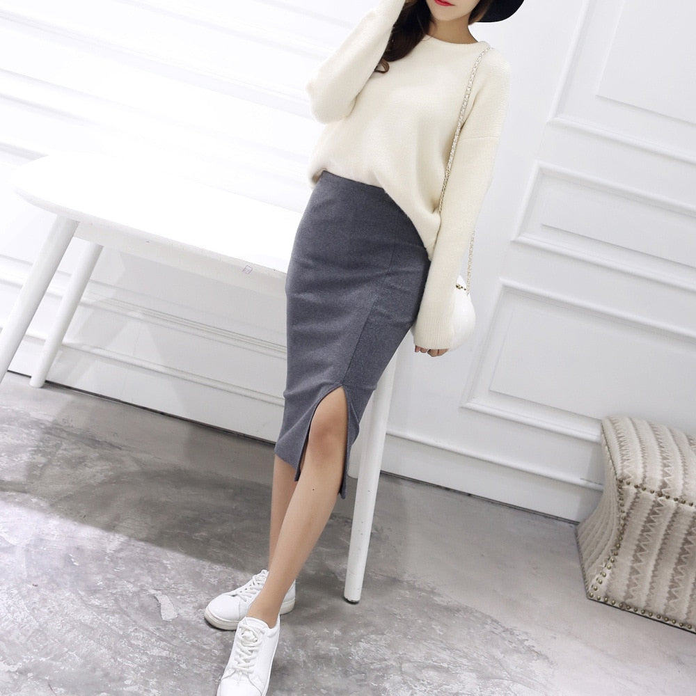 Elegant Sexy Split High Waist knitting Cotton Slim Ladies Skirt