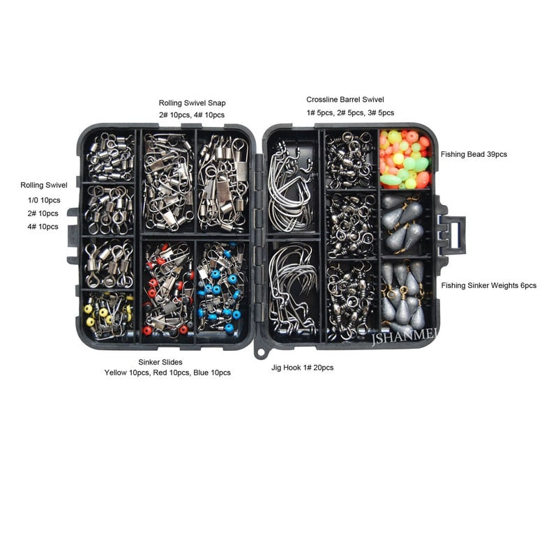 160pcs/box Fishing Accessories Kit Including Jig Hooks, Fishing Sinker Weights, Fishing Swivels Snaps with Fishing Tackle Box