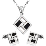 LUXUSTEEL Stylish Geometry Gold and Black Stainless Steel Necklace and Earring Sets For Women