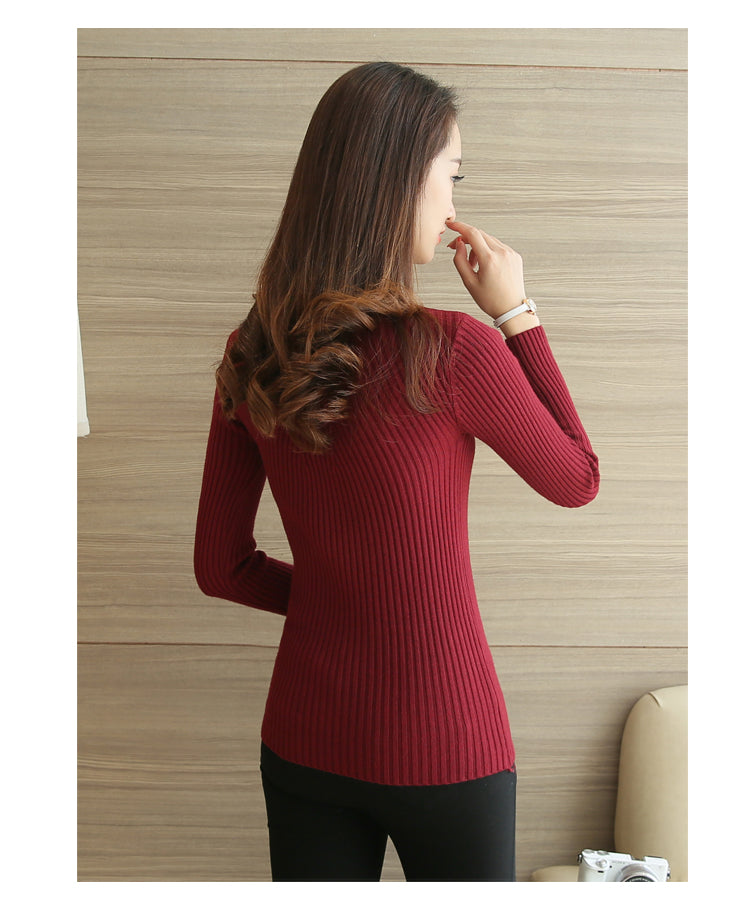STYLISH Knitted Pullover with Long Sleeve Turtleneck Sweaters for Women