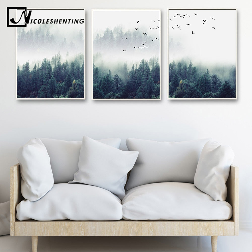 Forest Landscape Wall Art Canvas Poster Decorative Picture for Living Room