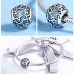 ATTRACTIVE 925 Sterling Silver Shimmering Star Openwork Blue Crystal Charm Beads for Women