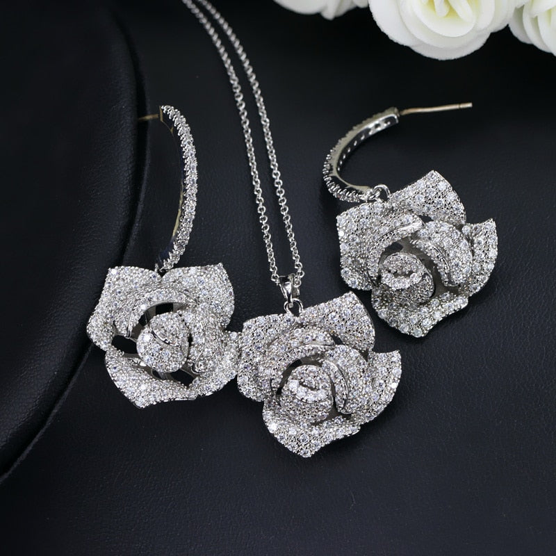 AMAZING Micro Pave Cubic Zirconia Flower Drop Pendant Necklace and Earrings Set for Women