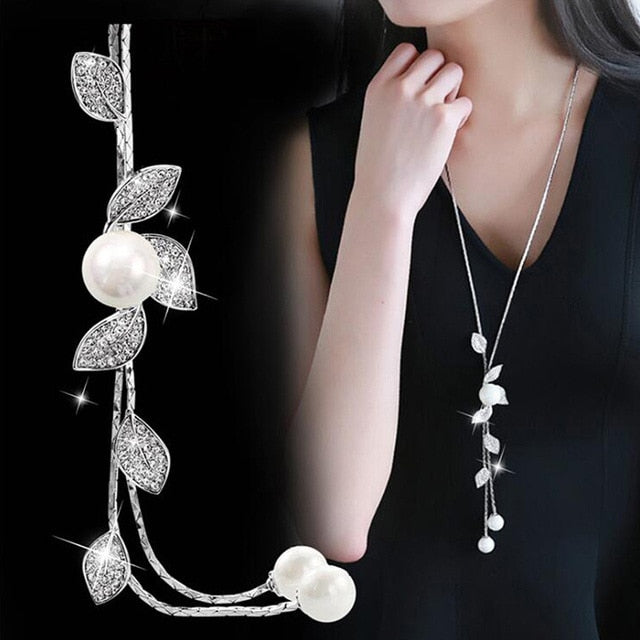 DASHING & BEAUTIFUL Simulated Pearl Silver Color Chain Necklaces for Women