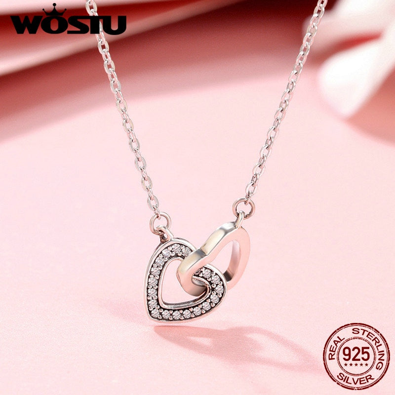 925 Sterling Silver Connected  Couple Heart Pendant Necklace for Valentine Day Gift