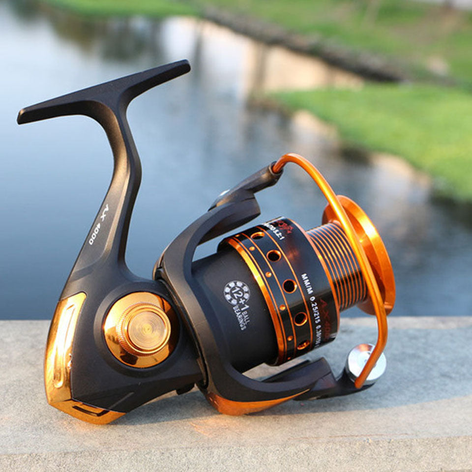 BEST SELLING Spinning Fishing Reel 12BB + 1 Bearing Ball with 500-9000 Series Metal Coil Spinning Reel Boat Rock Fishing Wheel