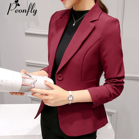 New Fashion Single Button Wine Red Blazer