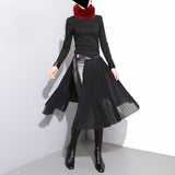 Women's Korean Style Black Pleated Leather Belt Adjustable Chiffon Skirts