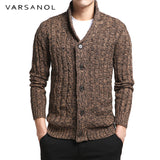 V-Neck Solid Slim Fit Knitting Brown Sweaters