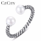 BEAUTIFUL 925 Sterling Silver Pearl Open Finger Rings
