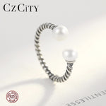 BEAUTIFUL 925 Sterling Silver Twisted Rope Of Love with Silver Pearl Open Finger Rings for Women