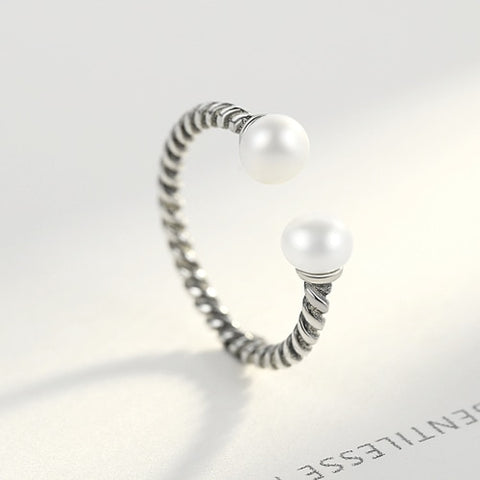 Twisted Rope Of Love with Silver Pearl Open Finger Rings for Women
