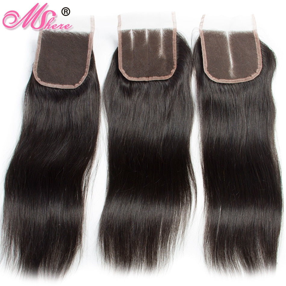 FASHIONABLE Peruvian Straight Hair With Lace Closure 4 Pc Bundles
