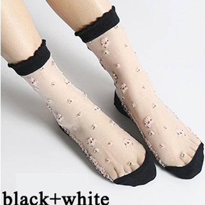 Sweet Crystal 5 Pairs/Lot Cotton Anti-skid Transparent Thin Socks for Women